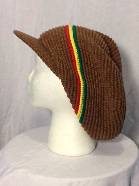 Brown Crown with Peak and Green, Gold and Red Stripes