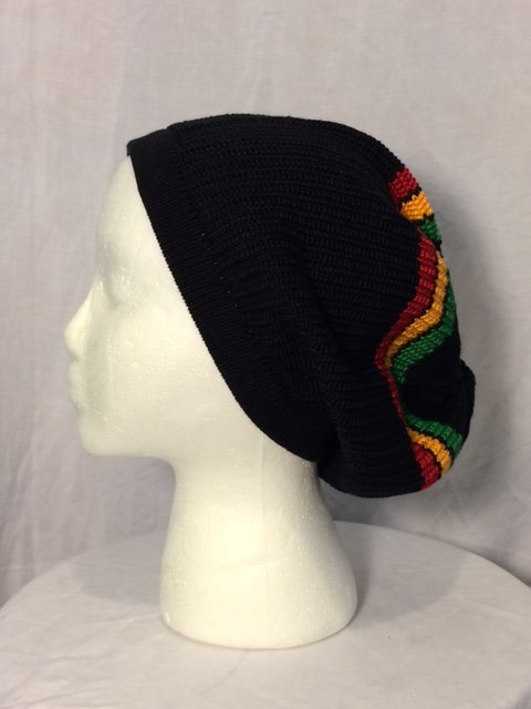 Black Tam with Green, Gold and Red Stripes