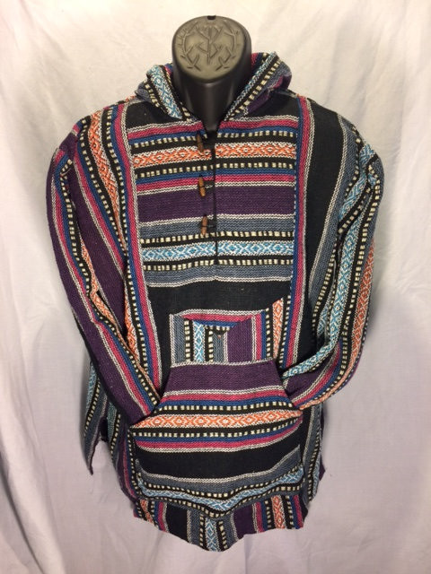 Button Hoodie with Black, Gray, Purple, and Fuchsia Stripes