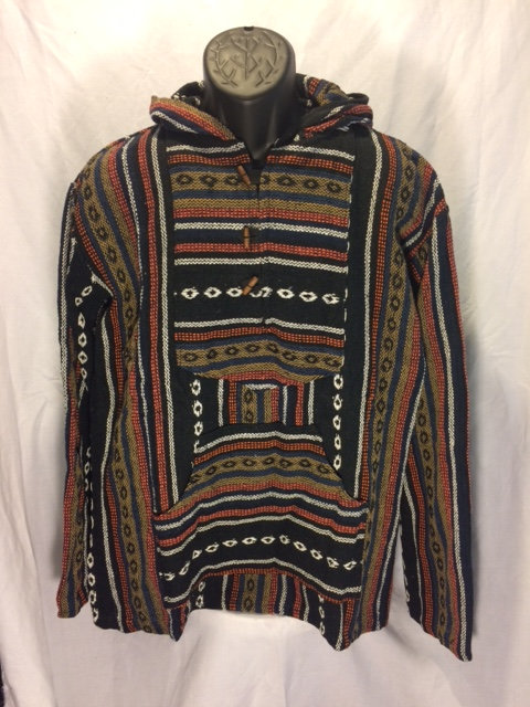 Button Hoodie with Black, White, Tan and Burnt Orange Stripes