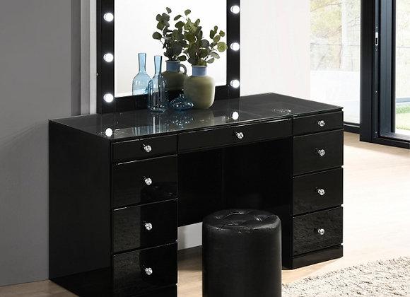 Avery Black Vanity Table w/Mirror