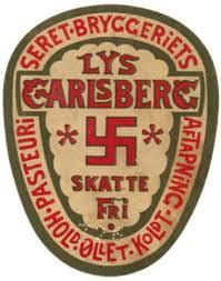 Pre 1930's Carlsberg Beer Bottle Label featuring Swastikas