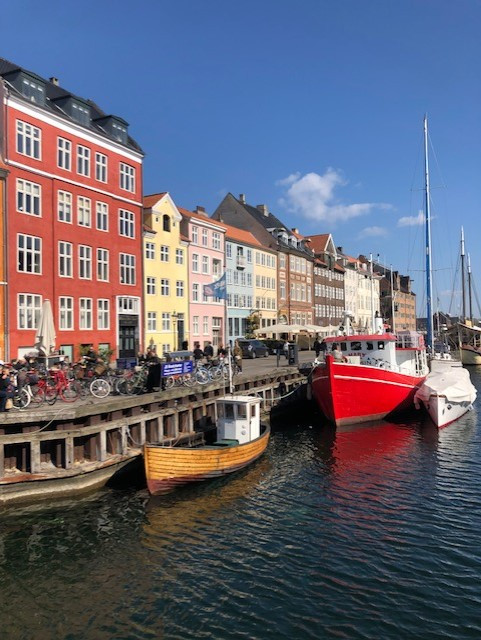 Nyhavn Canal, Copenhagen. Colourful buildings and canal boats