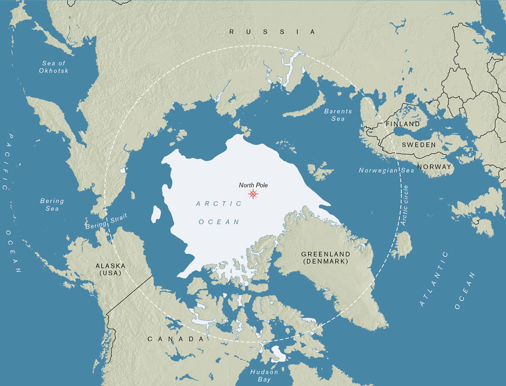 a top-down view of the Arctic