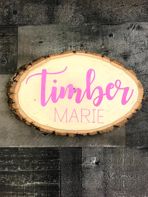 Personalized Wood Slice - Pink