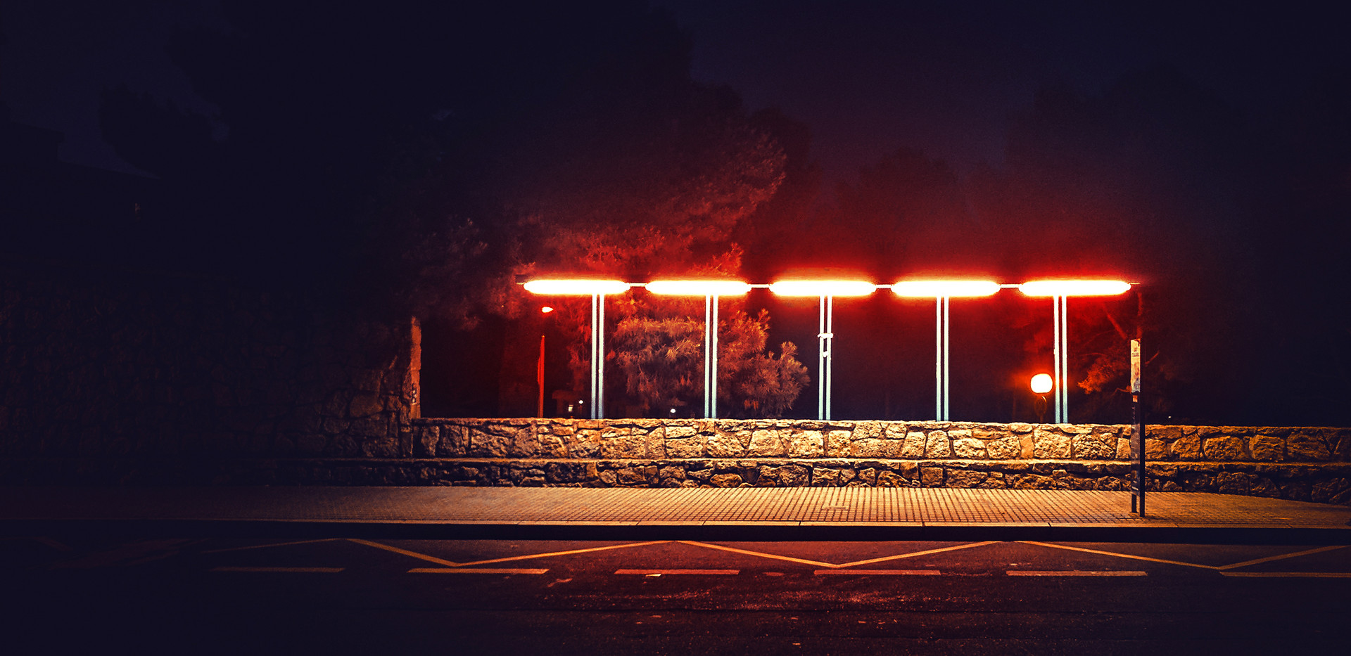 Mystical mysterious bus stop at night li