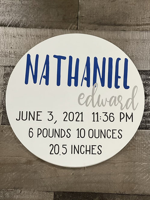 12 Inch Round Baby Stats Wood Sign