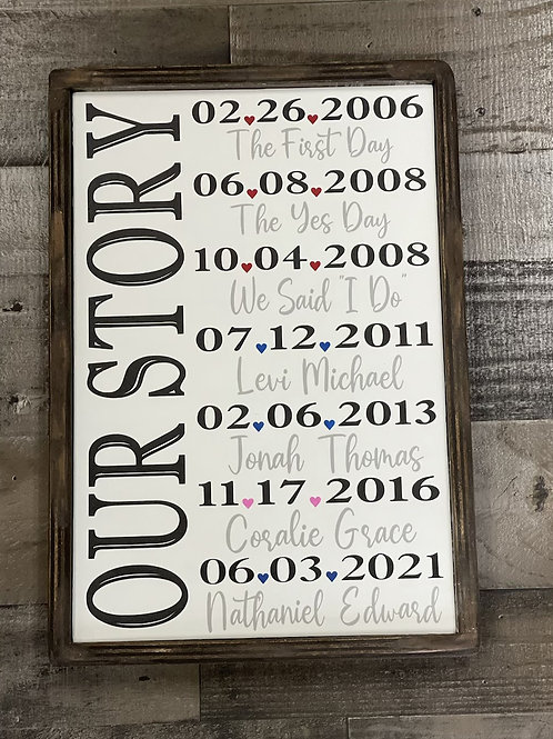 Our Story Personalized Wood Sign