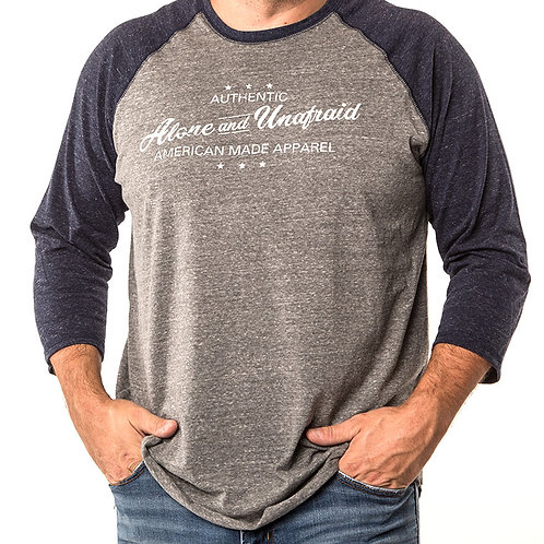 Authentic Wear Men's Tri-Blend 3/4 sleeve Baseball Tee