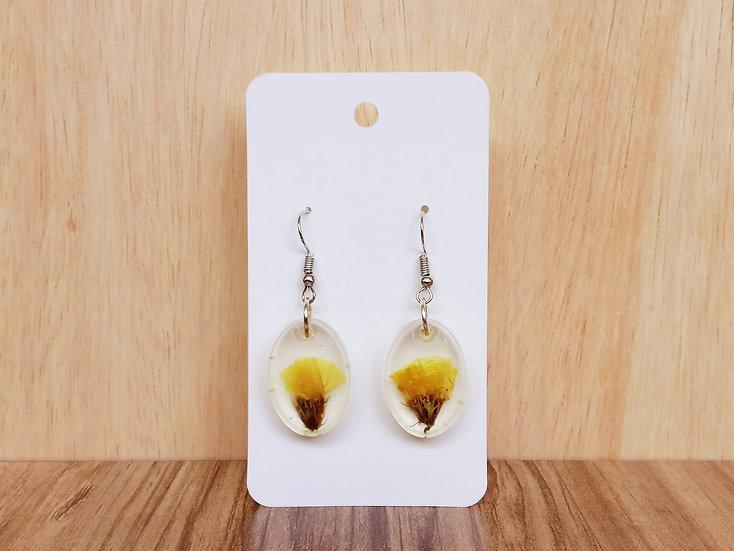 Yellow Flower Resin Earrings