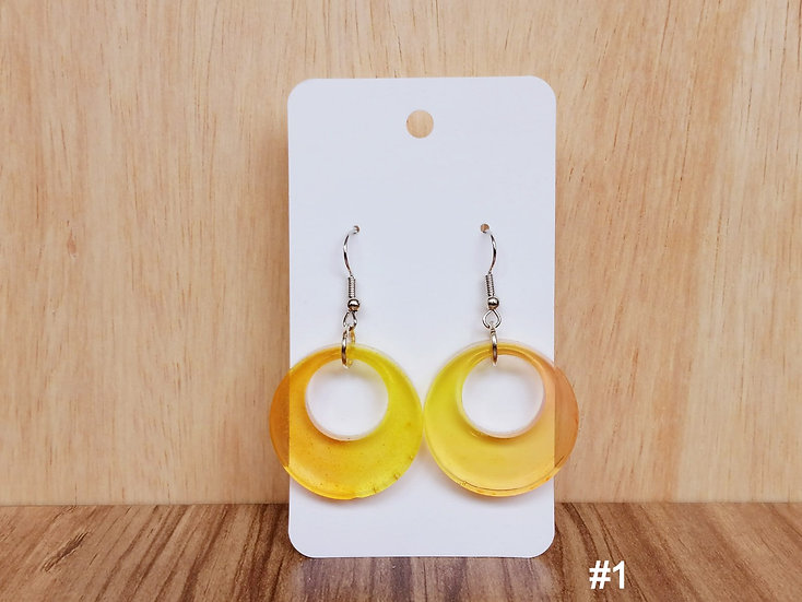Orange-Yellow Resin Earrings