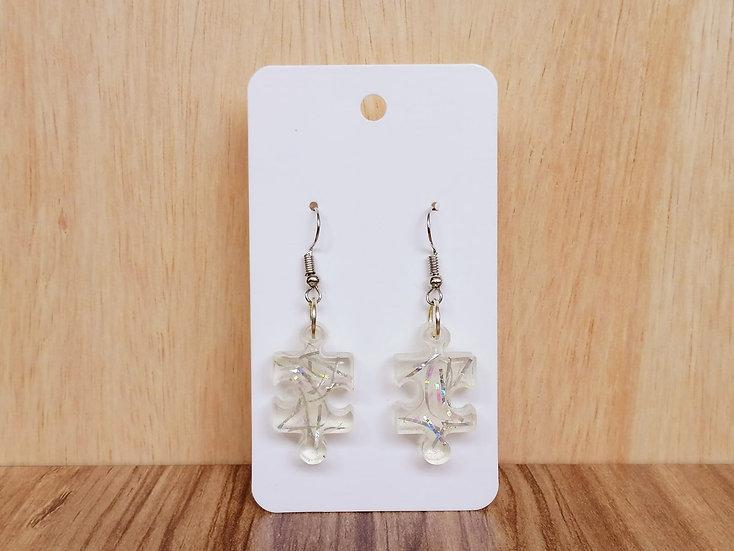 Shiny Jigsaw Resin Earrings