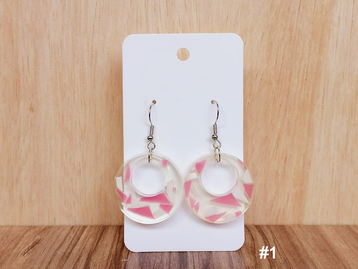 Pink-White File Resin Earrings