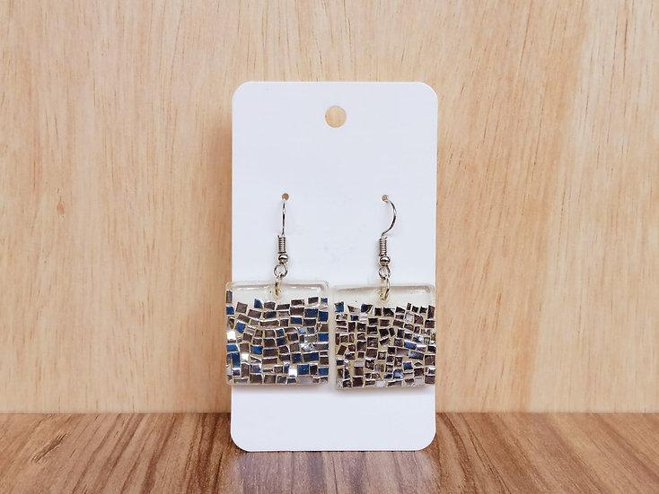 Silver Shimmers Resin Earrings