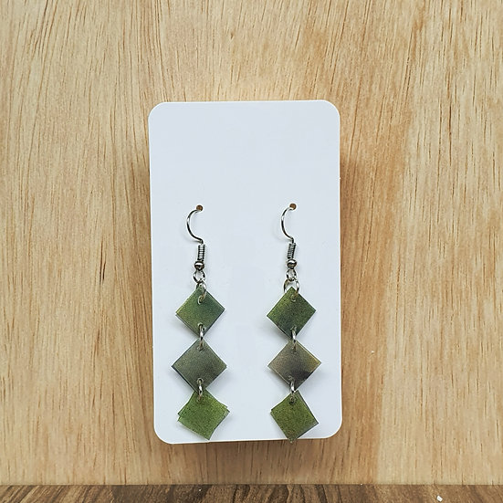 Mosaic Links Earrings - Dark Green