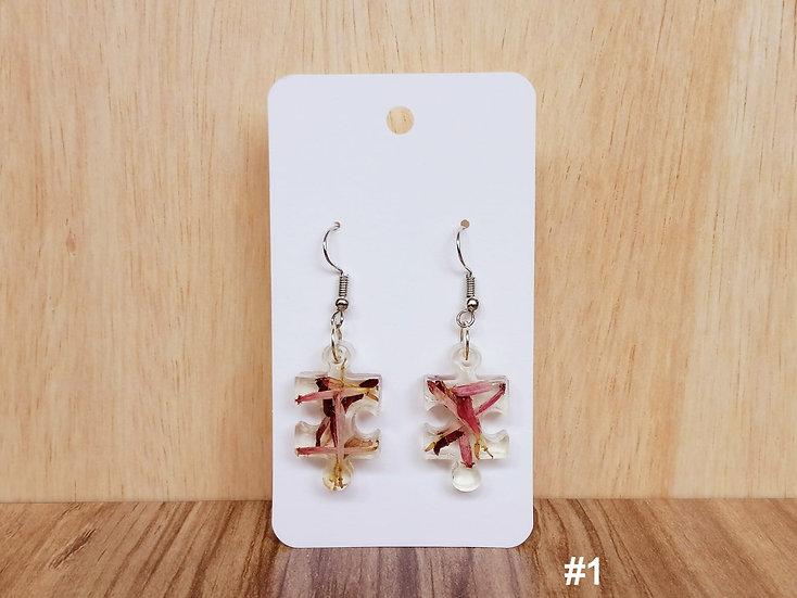 Orchid Flower Resin Earrings