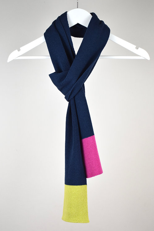 Colour Block Scarf Blue