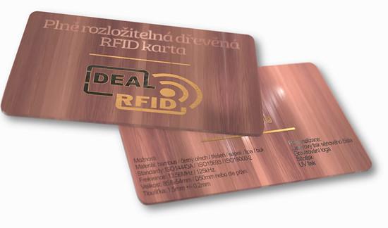 Dřevená RFID karta textura třešeň
