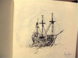 Ship Pen & Ink from Imagination