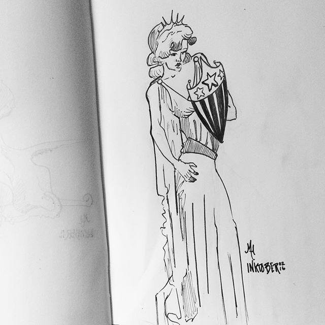 #ladyliberty 'merica 🇺🇸 #inktober2016 #inktober
