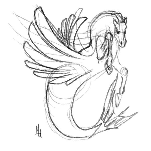 Pegasus Hippocampus for  #MerMay #MerMay2017.jpg Pretty sure I'm going to paint this one!  First one