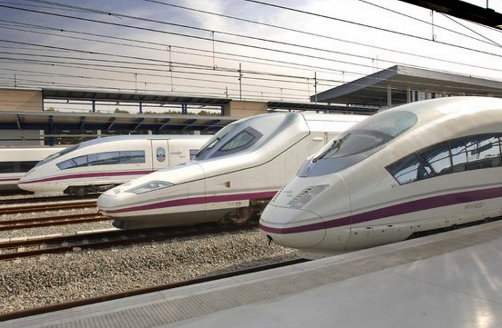 Renfe Spanish high speed trains Spanish day trains. High speed AVE connection between cities like Madrid, Barcelona, Seville etc.