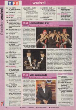 Télé 7 Jours Novembre 2001