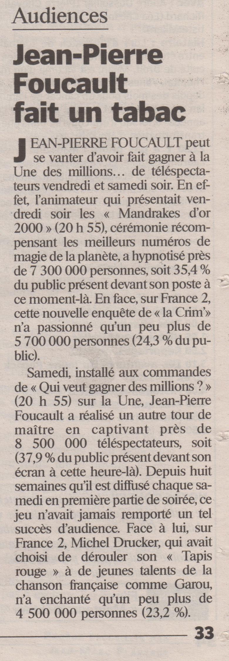 Le Parisien Novembre 2000