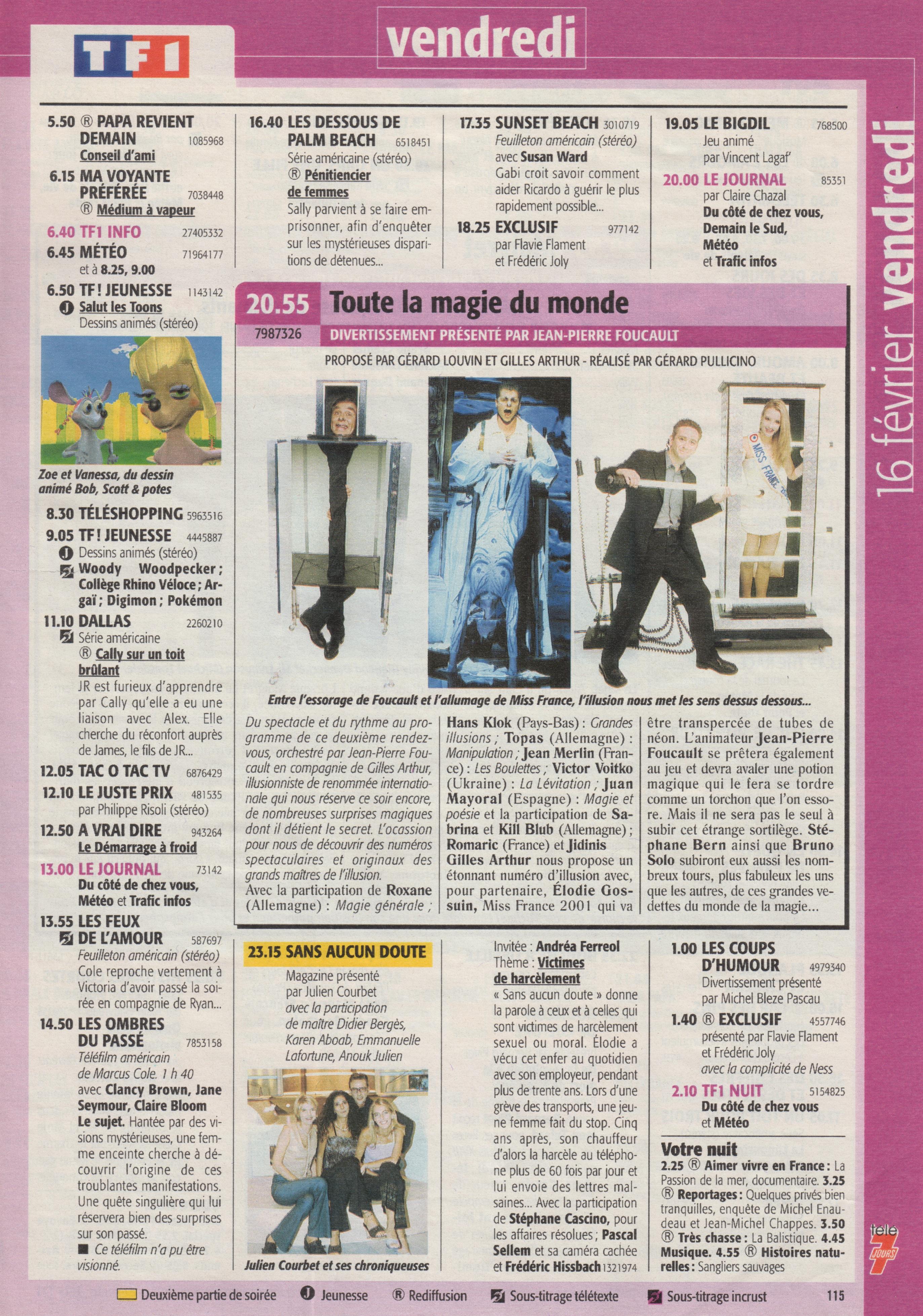 Télé 7 Jours Février 2001