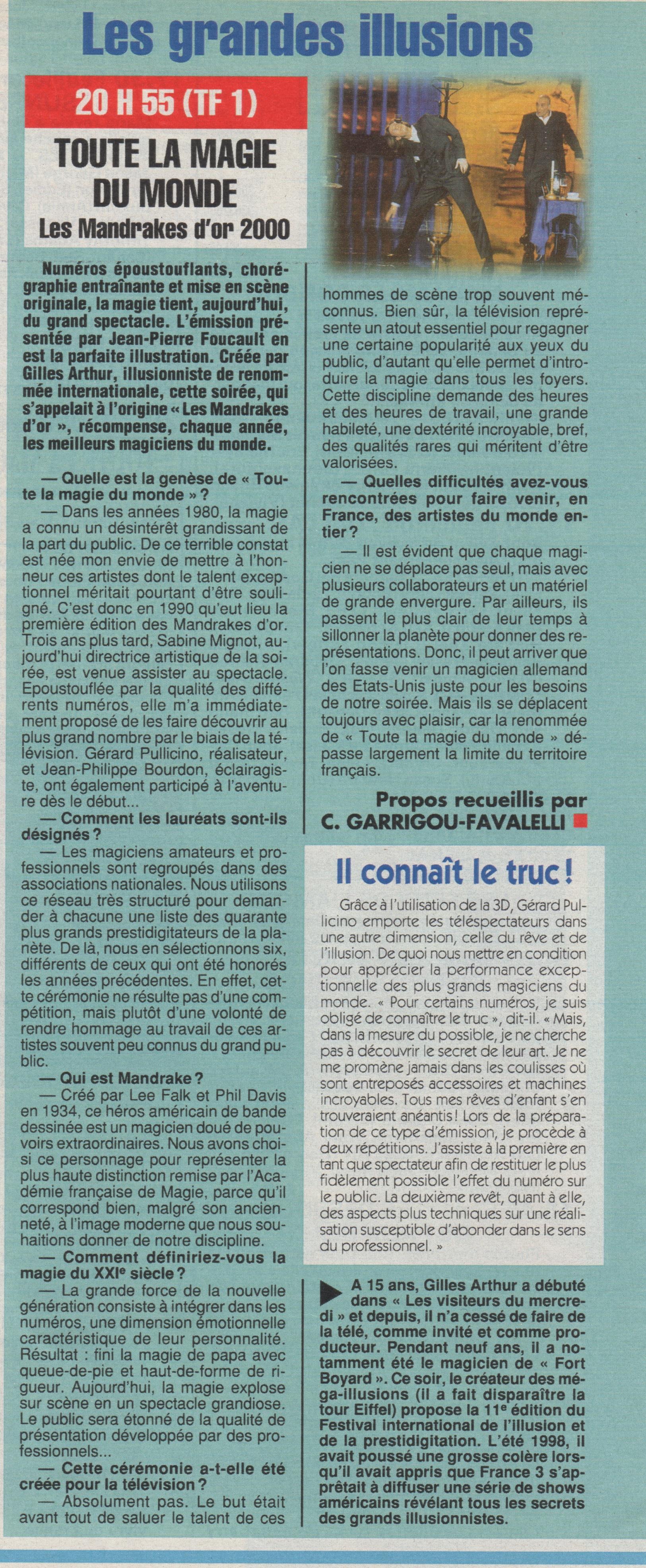 Ciné Télé Revue Novembre 2000