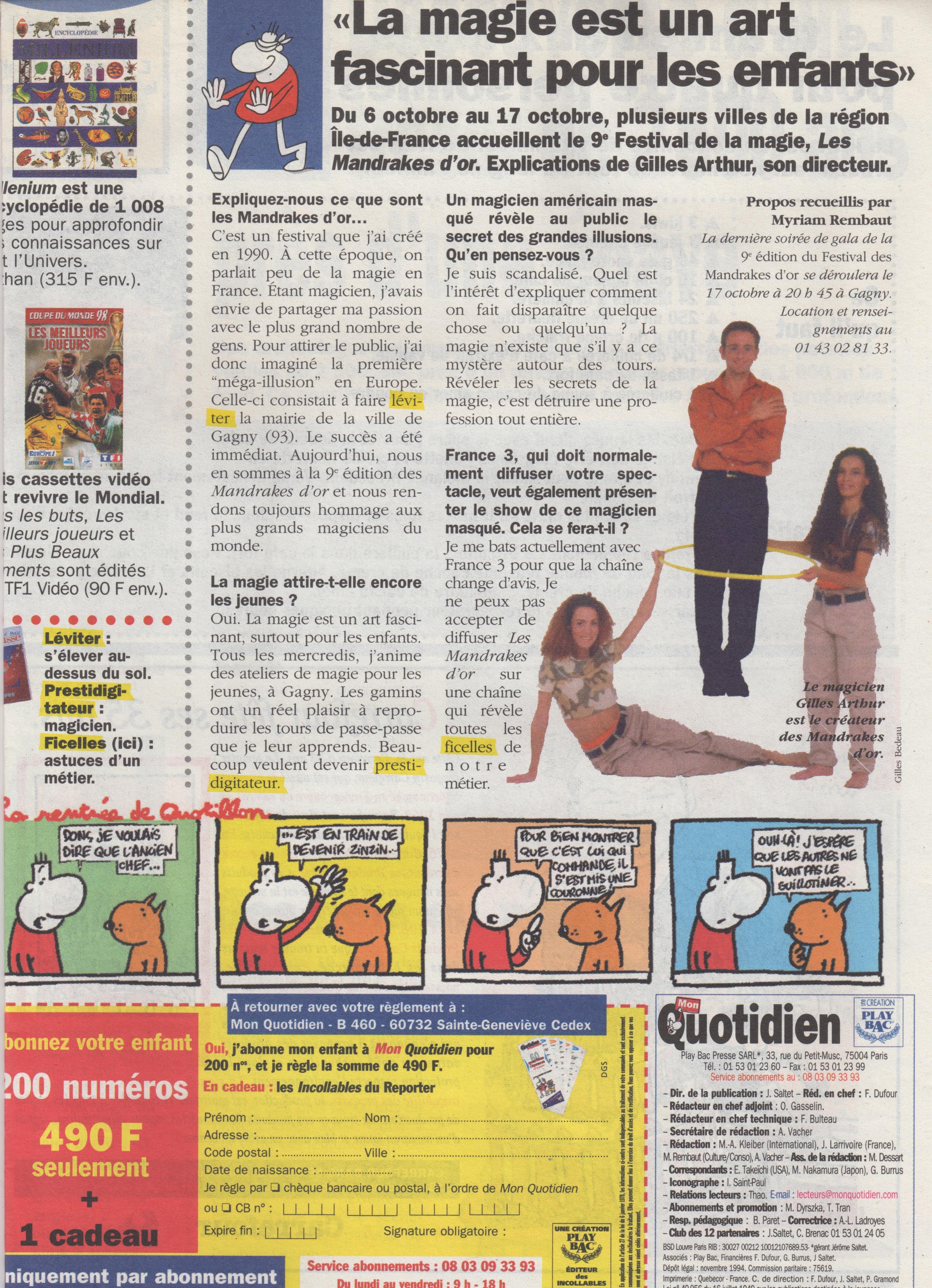 Mon quotidien Octobre 1998