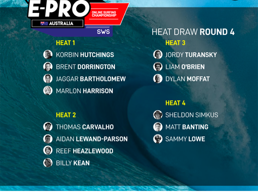 CONFIRMED THE HEAT DRAW FOR ROUND 4 OF THE SURFBOARD EMPIRE #EPROAUSTRALIA
