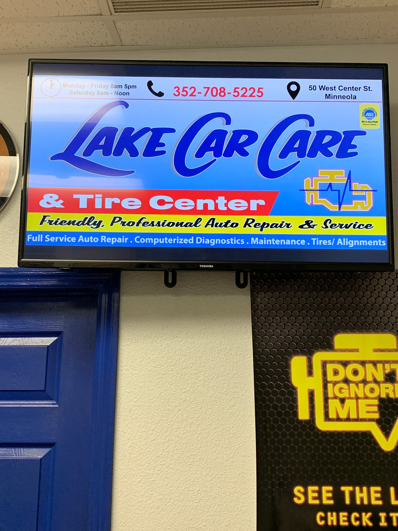 Digital TV ads Lake Car Care Clermont FL