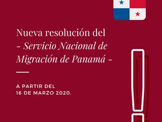 Nueva resolución del Servicio Nacional de Migración de Panamá