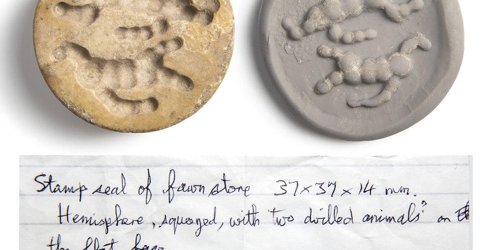 Fine large Sumerian Jemdet stamp seal with provenance