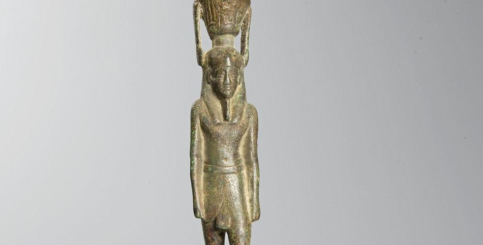 Egyptian bronze statuette of the god Nefertum