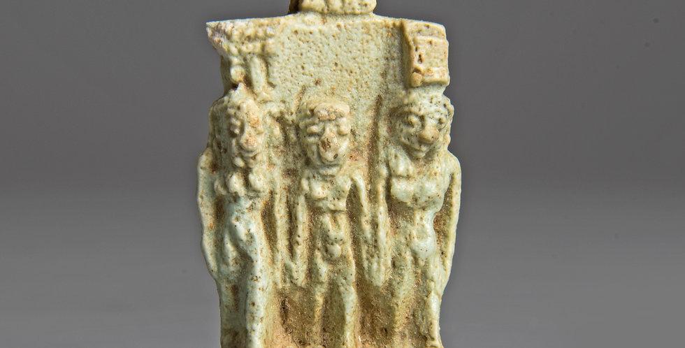 Egyptian faience Osirian Triad amulet