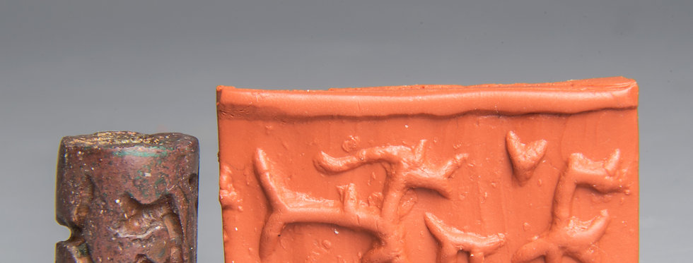Rare provenanced bronze cylinder seal: Circa 1000 BC
