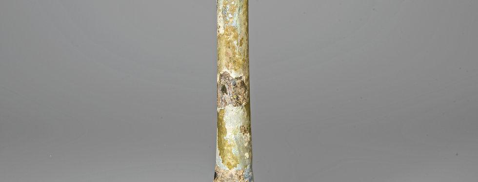 Roman tall iridescent glass candlestick unguentarium