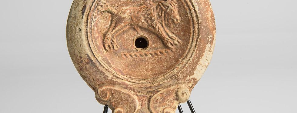 Provenanced Roman oil lamp with maker's mark