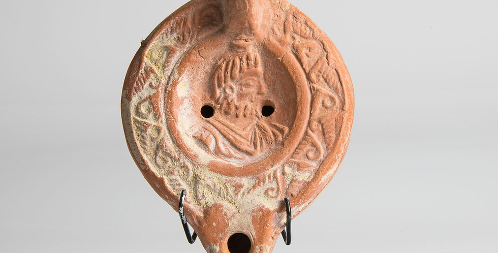 Large Roman oil lamp with bust of Serapis