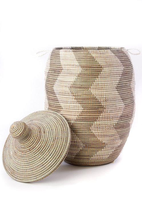 Extra Large Silver and White ZigZag Hamper Basket