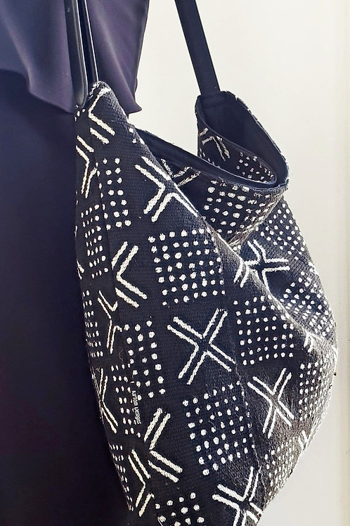 Authentic Mudcloth Black & White Hobo Tote Bag