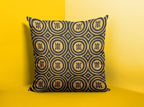 Denkyem Throw Pillow Print Black & Mustard   Spun Polyester Square Pillow