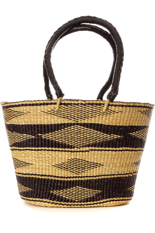 Ghanaian Black Diamond Basket Shopper with Leather Handles