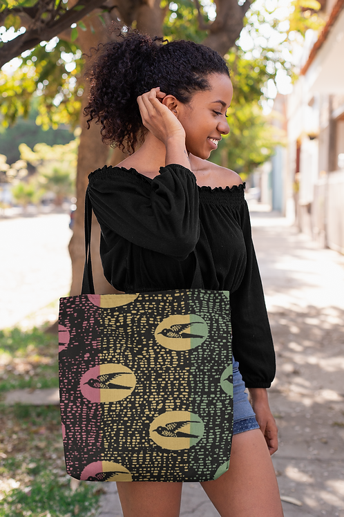 African Birds Print   Durable Tote Bags
