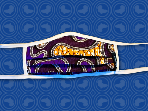 Adult Face Mask with Filter | Purple African Print Cloth