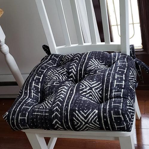 Set of 4   Black Mud cloth Print Tufted Seat Cushions