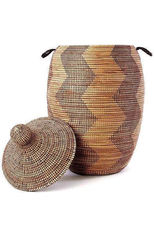 Extra Large Black and Gold ZigZag Hamper Basket