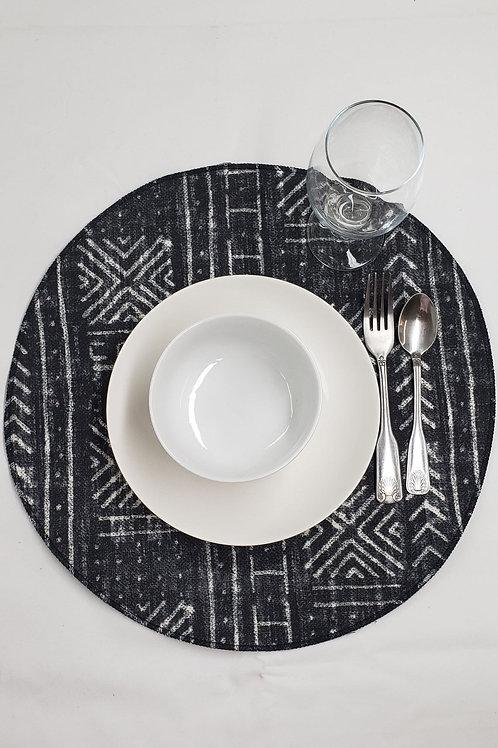 Set of 4 | Black Round Mudcloth Print Placemats